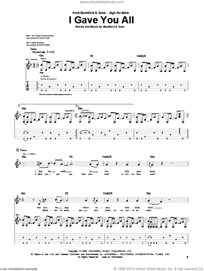 I Gave You All sheet music for guitar (tablature) by Marcus Mumford and Mumford & Sons. Score Image Preview.