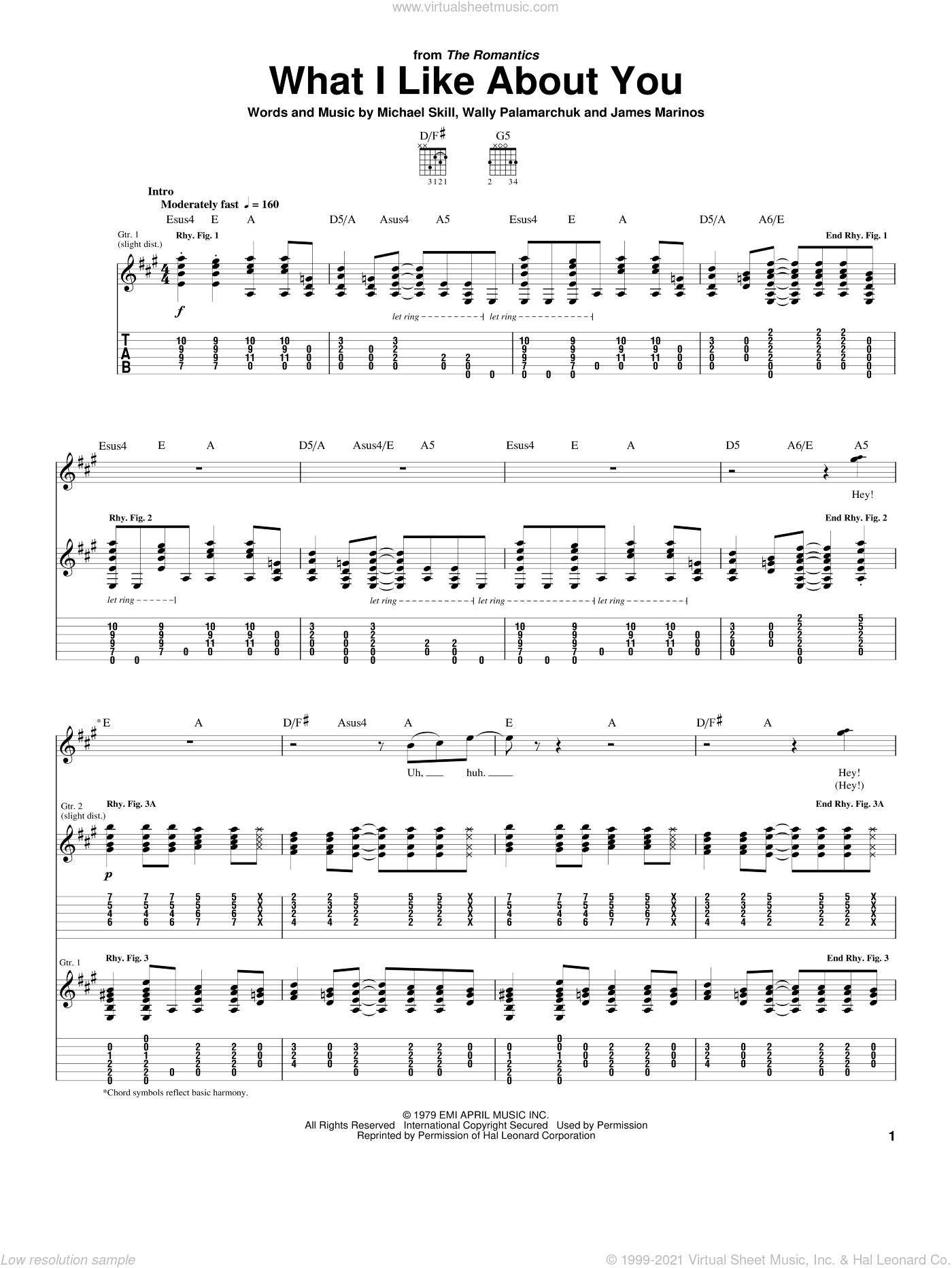 What I Like About You sheet music for guitar (tablature) by The Romantics, James Marinos, Michael Skill and Wally Palamarchuk, intermediate skill level