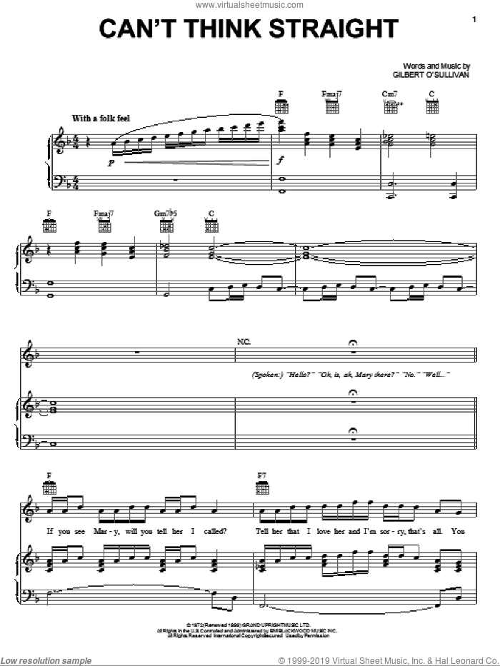 Can't Think Straight sheet music for voice, piano or guitar by Gilbert O'Sullivan, intermediate voice, piano or guitar. Score Image Preview.