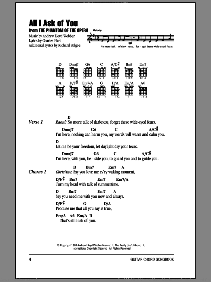 All I Ask Of You sheet music for guitar (chords) by Andrew Lloyd Webber and Barbra Streisand. Score Image Preview.