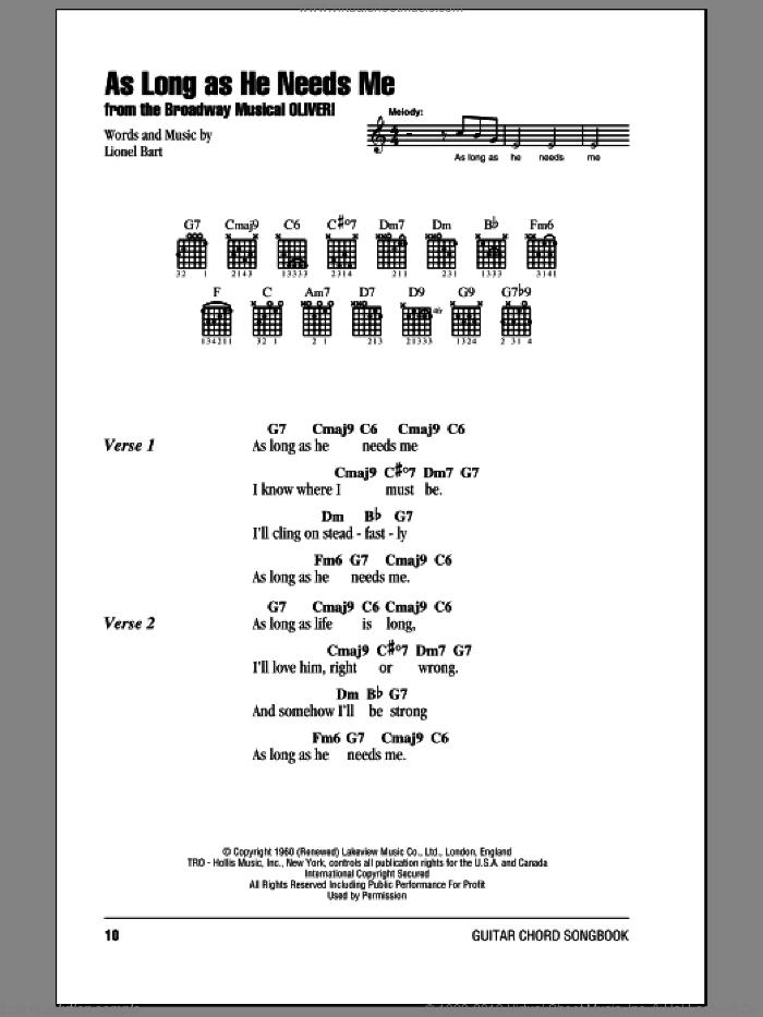 Bart - As Long As He Needs Me sheet music for guitar (chords)