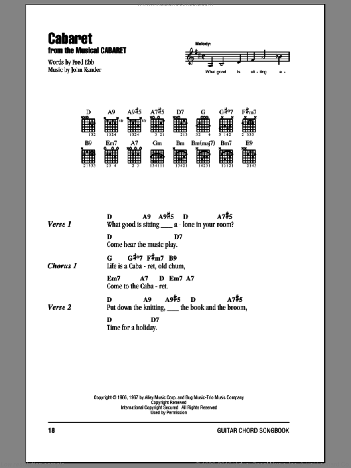 Ebb - Cabaret sheet music for guitar (chords) [PDF]