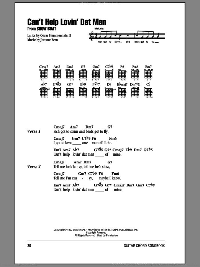 Can't Help Lovin' Dat Man sheet music for guitar (chords) by Jerome Kern, Annette Warren, Helen Morgan, Show Boat (Musical) and Oscar II Hammerstein, intermediate skill level