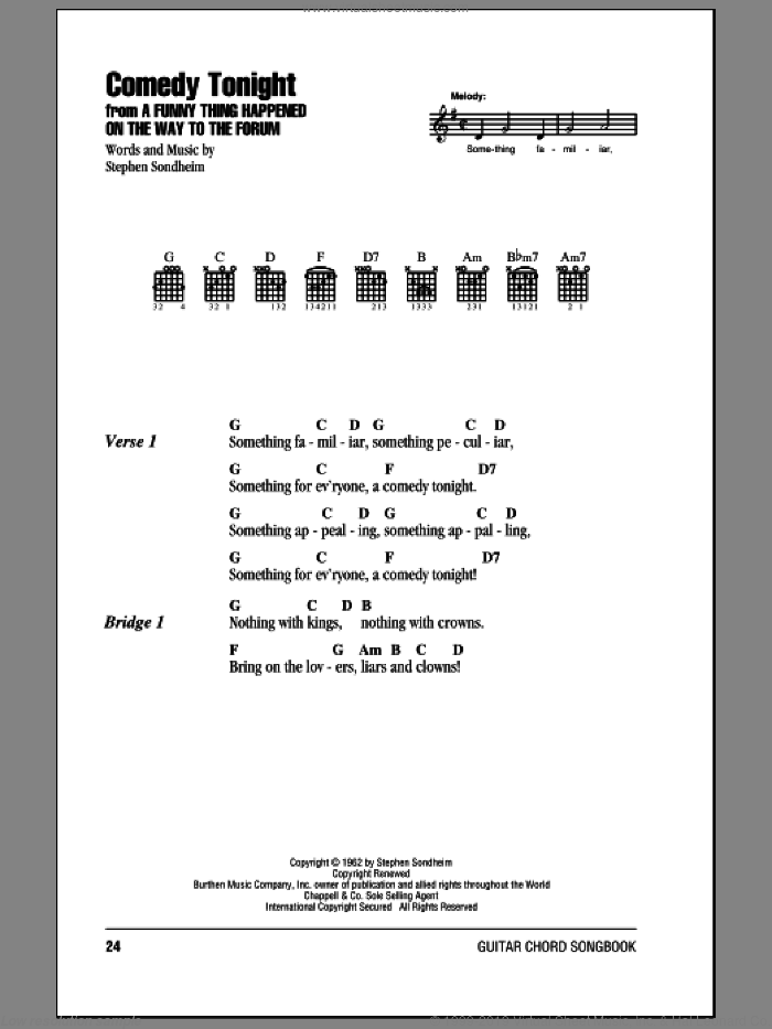 Comedy Tonight sheet music for guitar (chords) by Stephen Sondheim