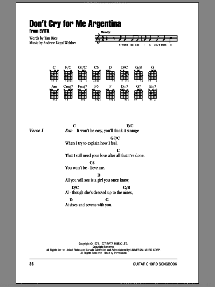 Webber - Don\'t Cry For Me Argentina sheet music for guitar (chords)