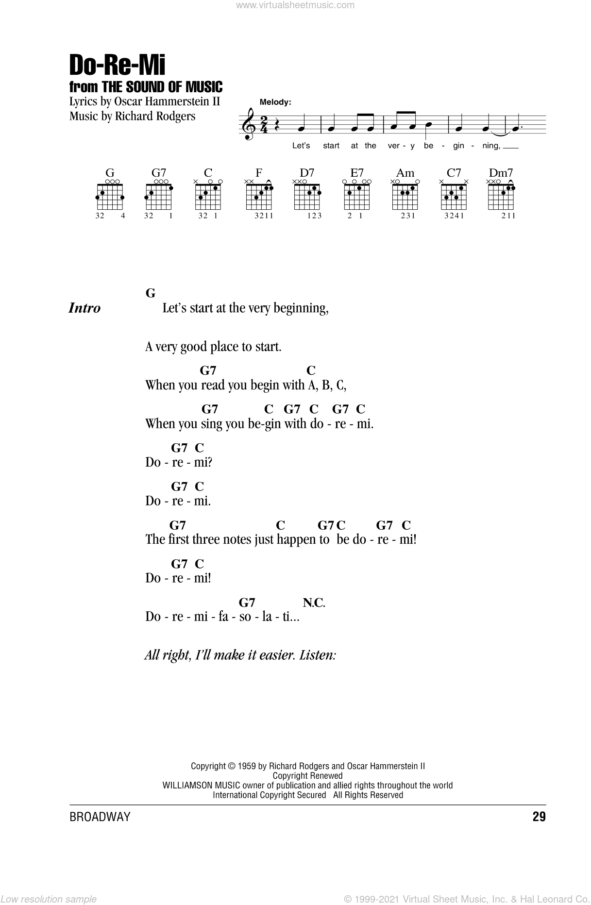 Do-Re-Mi sheet music for guitar (chords) by Rodgers & Hammerstein, Oscar II Hammerstein and Richard Rodgers, intermediate. Score Image Preview.