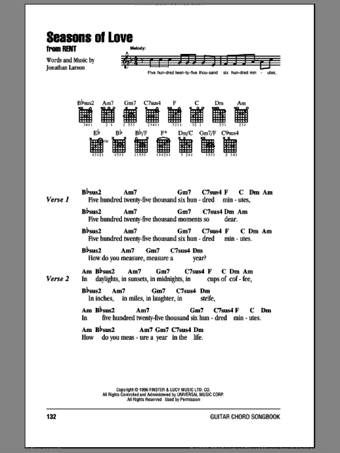 Seasons Of Love sheet music for guitar (chords) by Jonathan Larson. Score Image Preview.