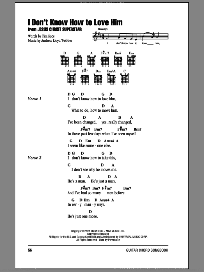 I Don't Know How To Love Him sheet music for guitar (chords) by Tim Rice, Helen Reddy and Andrew Lloyd Webber. Score Image Preview.