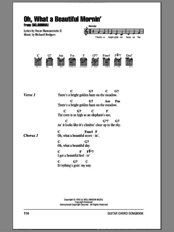 Oh, What A Beautiful Mornin' sheet music for guitar (chords) by Rodgers & Hammerstein, Oscar II Hammerstein and Richard Rodgers. Score Image Preview.