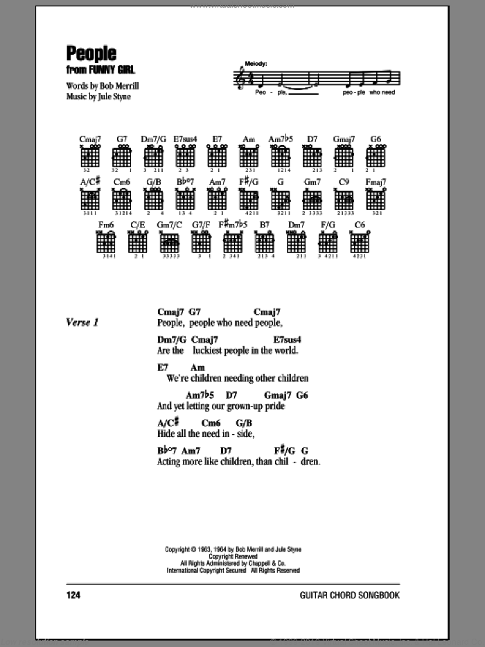 People sheet music for guitar (chords) by Jule Styne, Barbra Streisand and Bob Merrill. Score Image Preview.