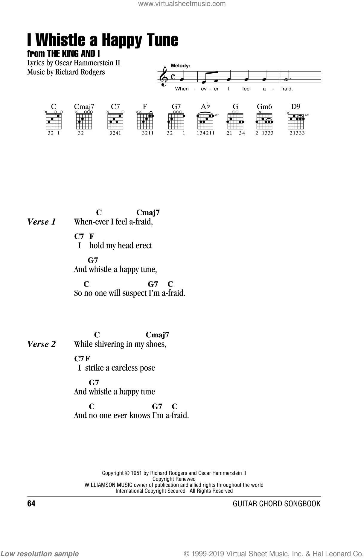 I Whistle A Happy Tune sheet music for guitar (chords) by Richard Rodgers, Rodgers & Hammerstein and Oscar II Hammerstein. Score Image Preview.