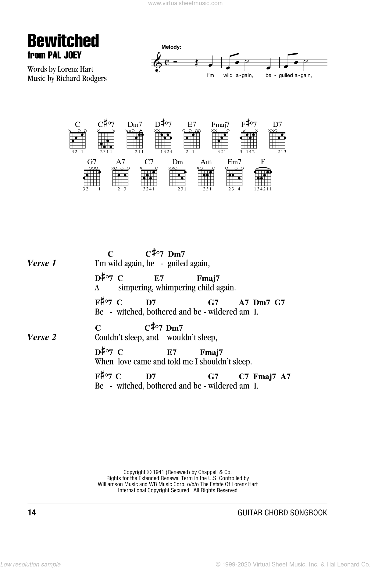 Bewitched sheet music for guitar (chords) by Richard Rodgers