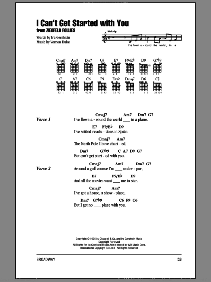I Can't Get Started With You sheet music for guitar (chords) by Ira Gershwin and Vernon Duke, intermediate skill level