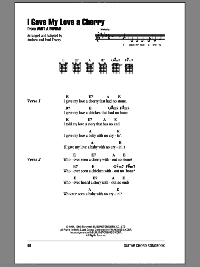 I Gave My Love A Cherry (The Riddle Song) sheet music for guitar (chords) , Andrew Tracey and Paul Tracey, intermediate skill level