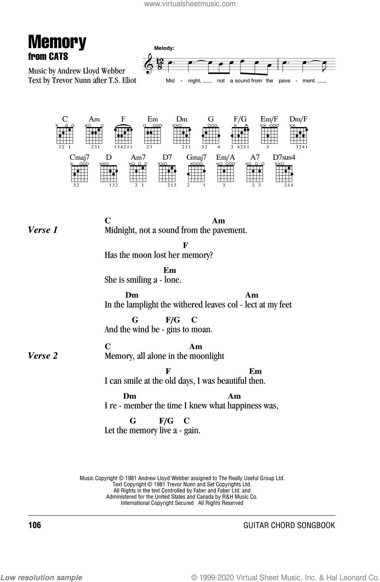 Memory sheet music for guitar (chords) by Trevor Nunn, Barbra Streisand and Andrew Lloyd Webber