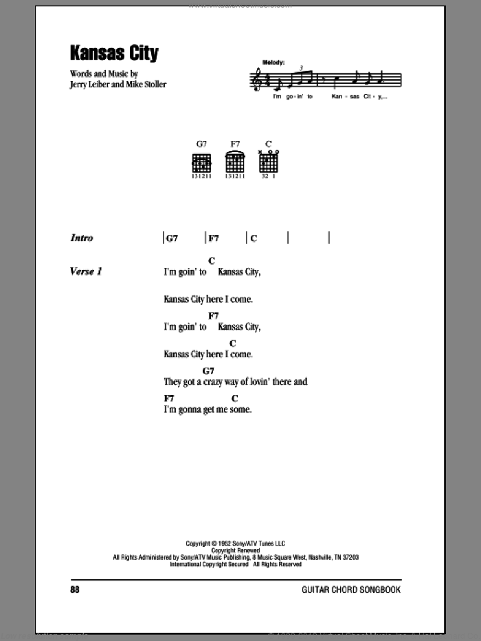 Kansas City sheet music for guitar (chords) by Mike Stoller, Wilbert Harrison and Jerry Leiber. Score Image Preview.