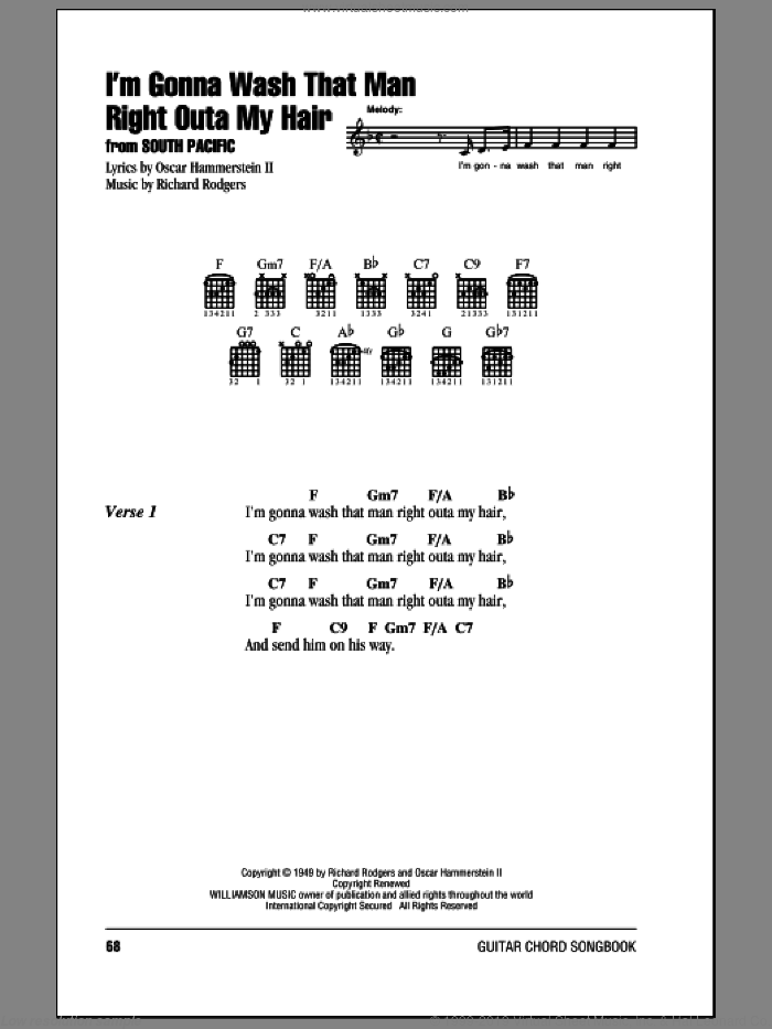 I'm Gonna Wash That Man Right Outa My Hair sheet music for guitar (chords) by Rodgers & Hammerstein, South Pacific (Musical), Oscar II Hammerstein and Richard Rodgers, intermediate. Score Image Preview.