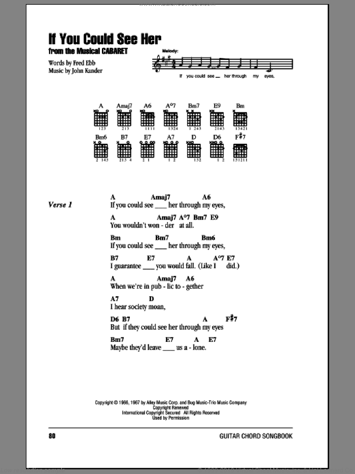If You Could See Her sheet music for guitar (chords) by John Kander, Kander & Ebb and Fred Ebb. Score Image Preview.