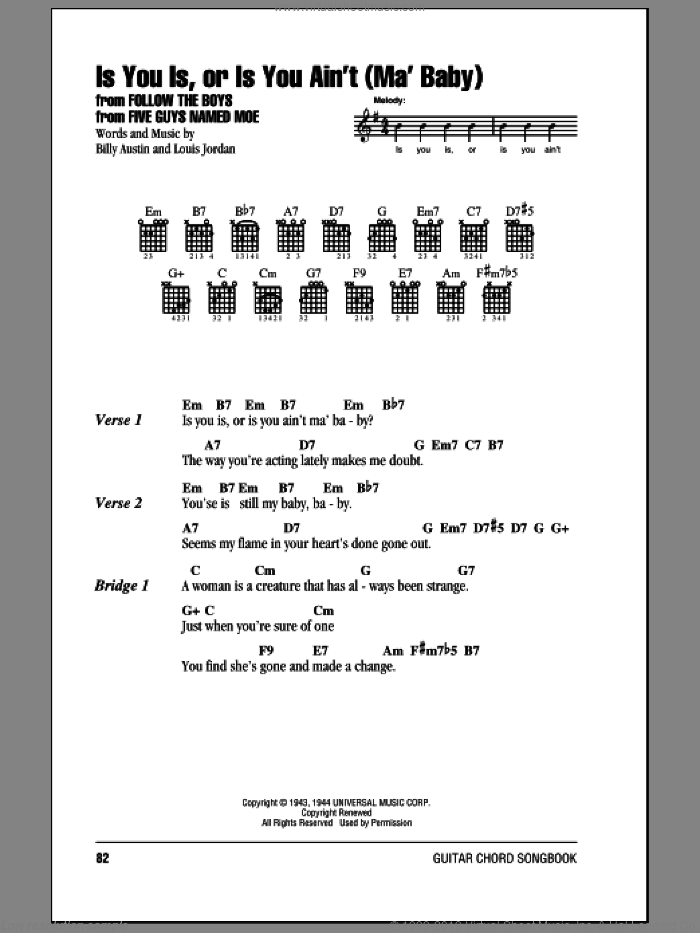 Is You Is, Or Is You Ain't (Ma' Baby) sheet music for guitar (chords) by Louis Jordan and Billy Austin, intermediate skill level