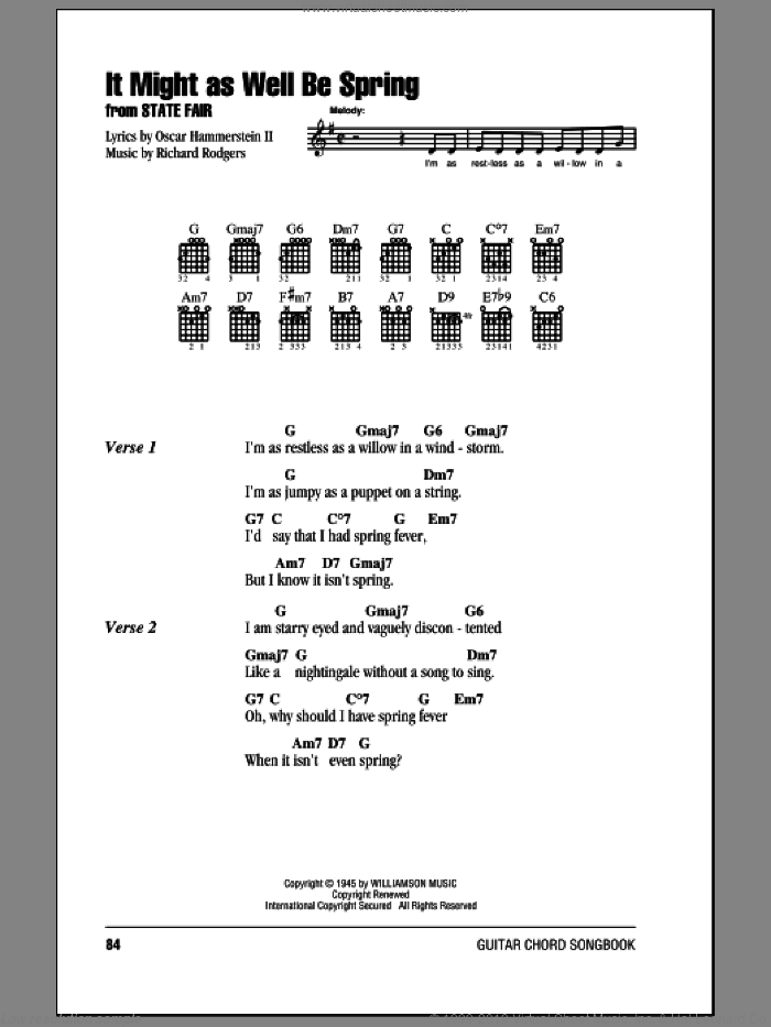 It Might As Well Be Spring sheet music for guitar (chords, lyrics, melody) by Richard Rodgers