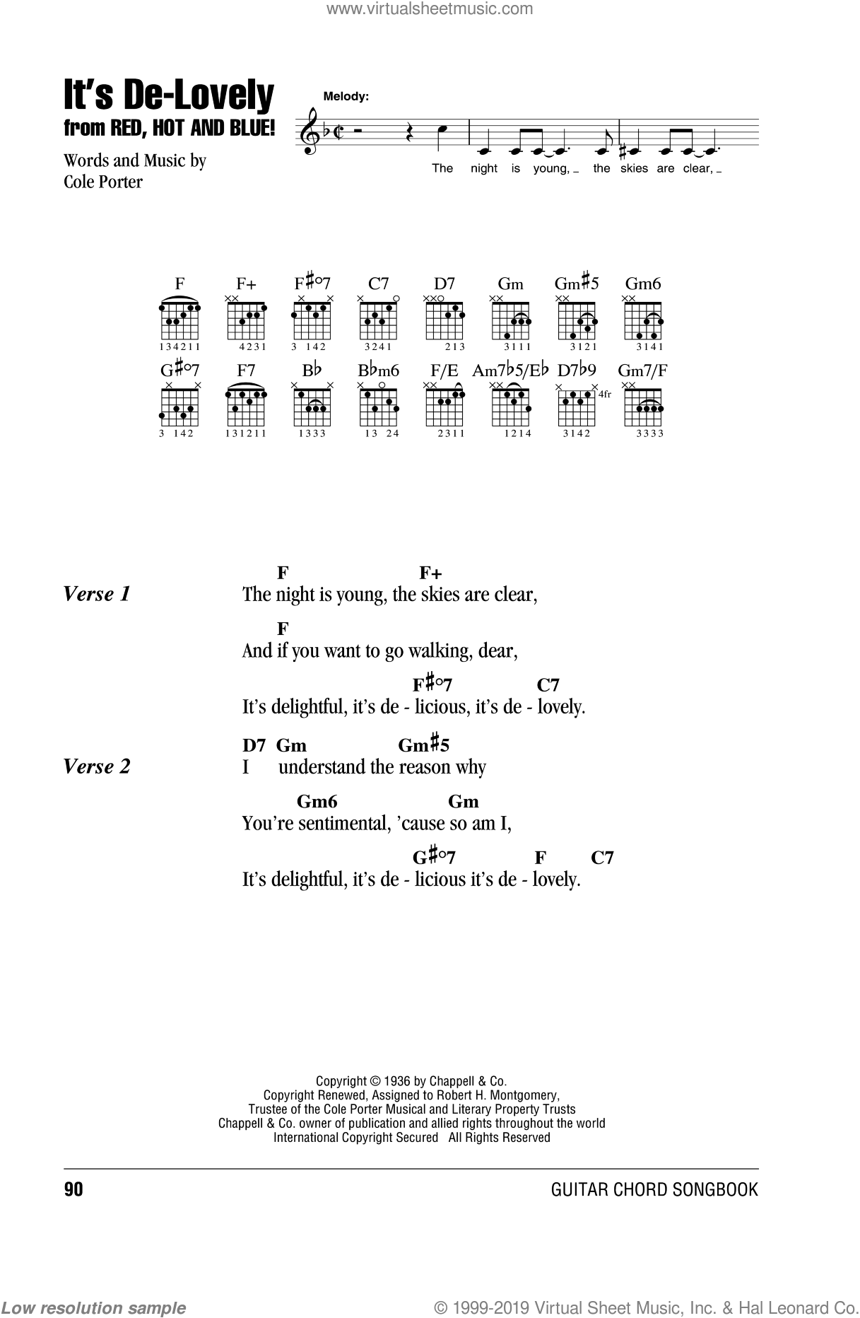 It's De-Lovely sheet music for guitar (chords) by Cole Porter, intermediate skill level