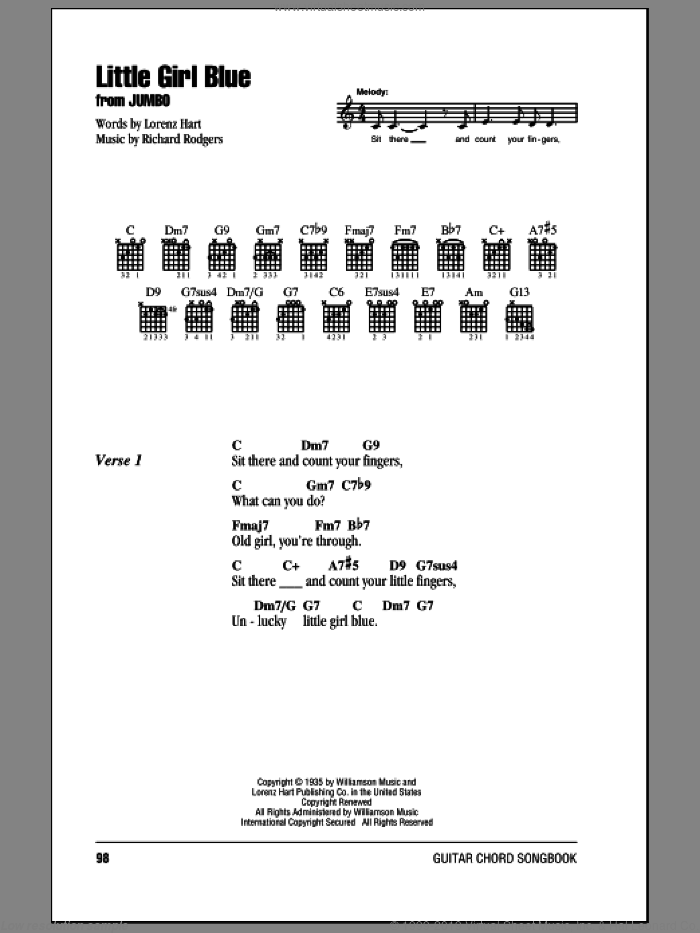 Little Girl Blue sheet music for guitar (chords) by Rodgers & Hart, Lorenz Hart and Richard Rodgers, intermediate. Score Image Preview.