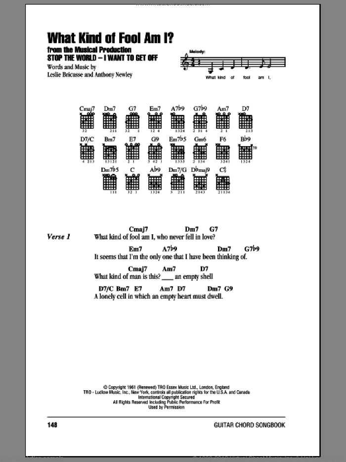 What Kind Of Fool Am I? sheet music for guitar (chords) by Leslie Bricusse and Anthony Newley, intermediate skill level
