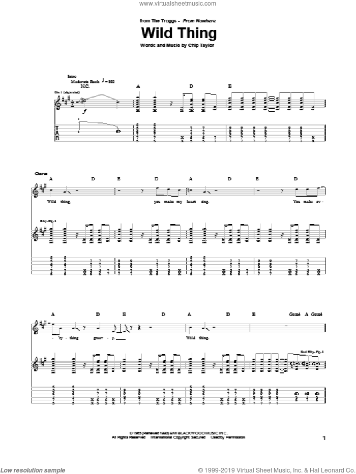 Wild Thing sheet music for guitar (tablature) by The Troggs and Chip Taylor, intermediate. Score Image Preview.