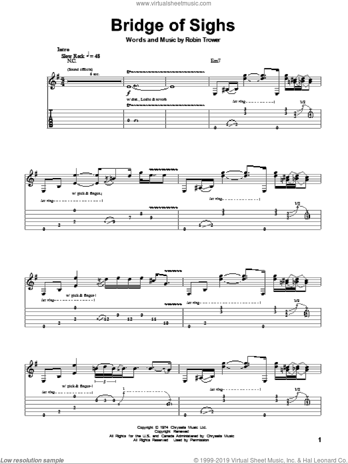 Bridge Of Sighs sheet music for guitar (tablature, play-along) by Robin Trower. Score Image Preview.