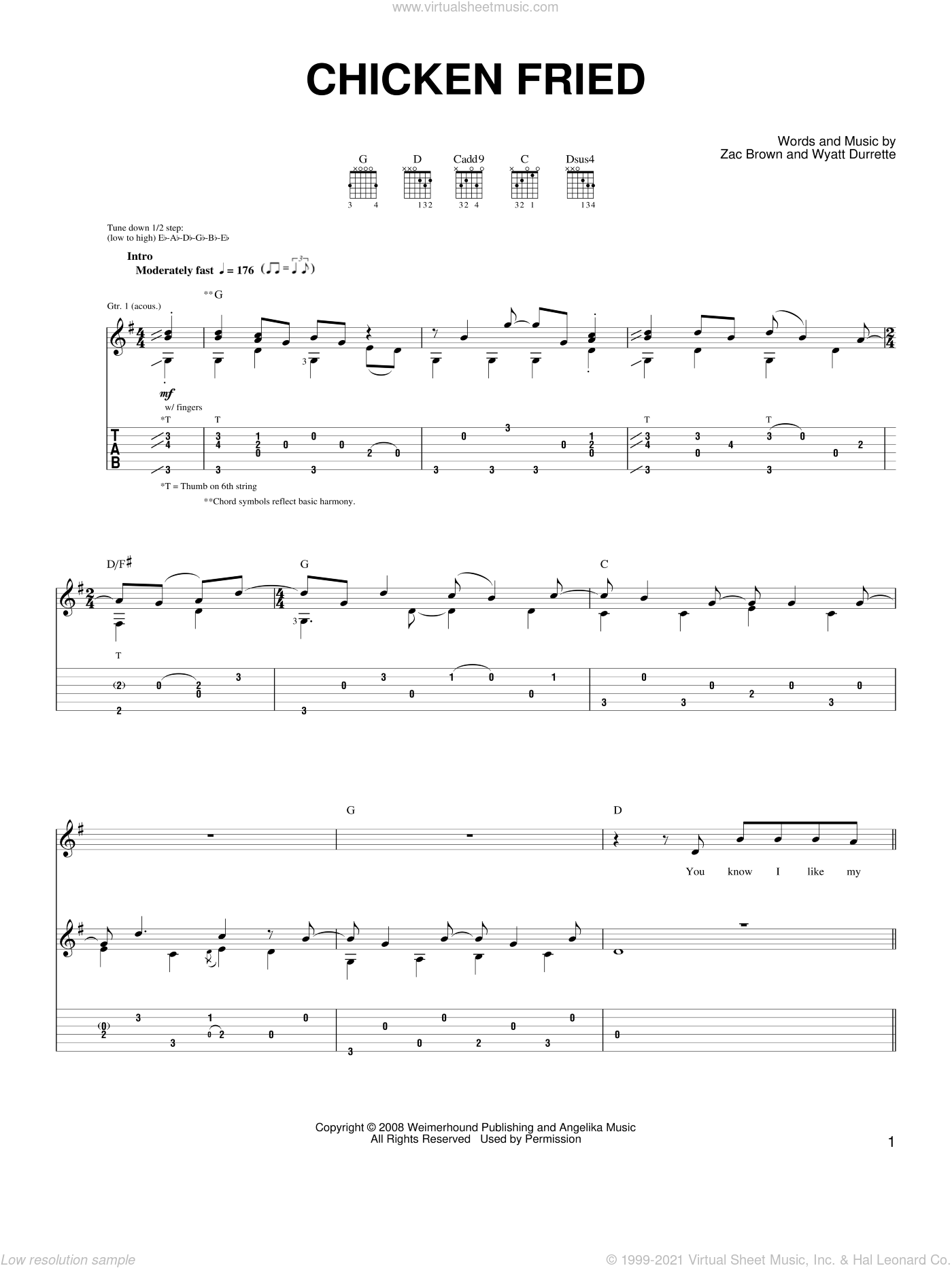 Chicken Fried sheet music for guitar solo (chords) by Zac Brown Band. Score Image Preview.