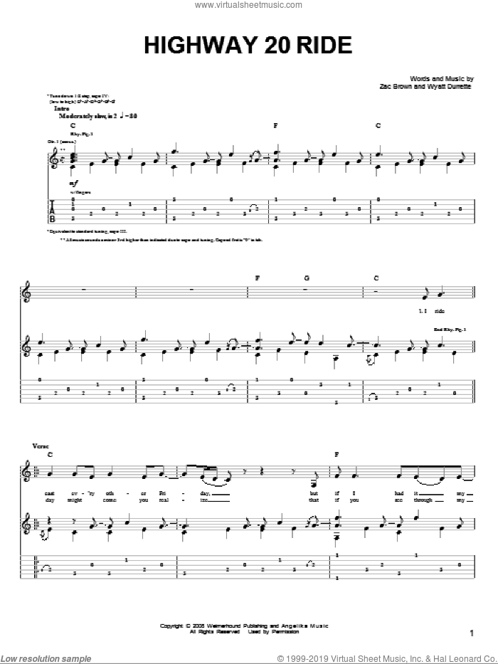 Highway 20 Ride sheet music for guitar solo (chords) by Zac Brown, Zac Brown Band and Wyatt Durrette. Score Image Preview.