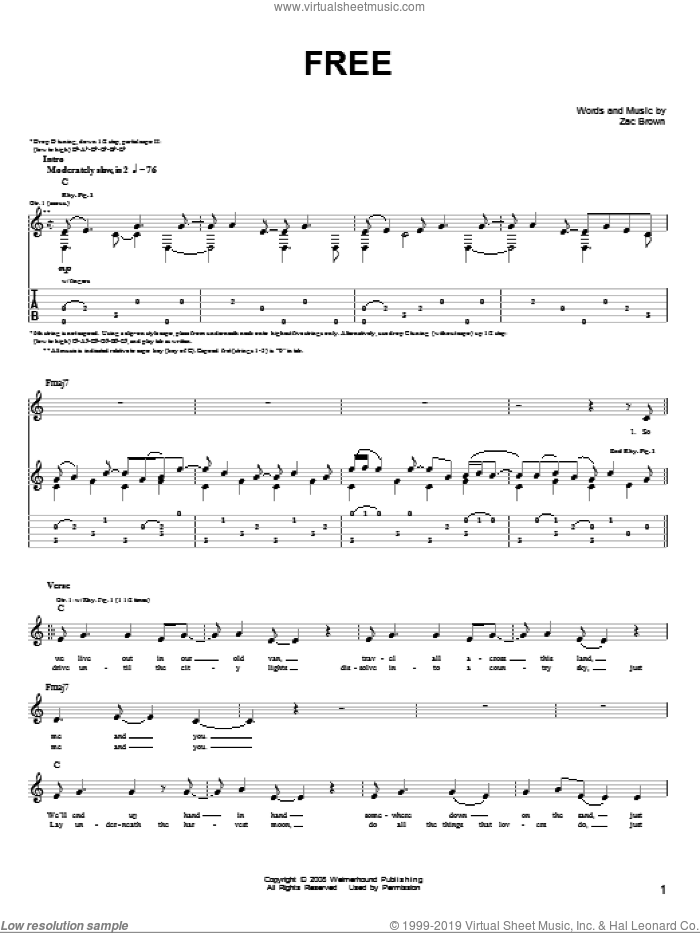 Free sheet music for guitar solo (chords) by Zac Brown Band and Zac Brown, easy guitar (chords)