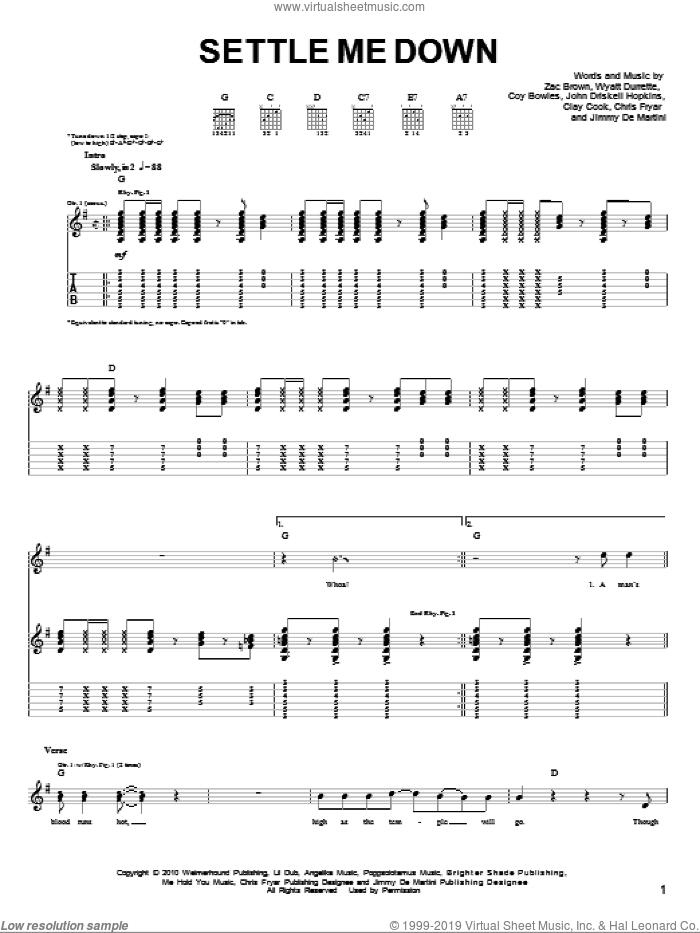 Settle Me Down sheet music for guitar solo (chords) by Zac Brown, Zac Brown Band, Clay Cook, John Driskell Hopkins and Wyatt Durrette. Score Image Preview.