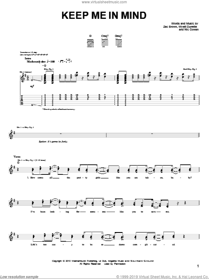 Keep Me In Mind sheet music for guitar solo (chords) by Zac Brown