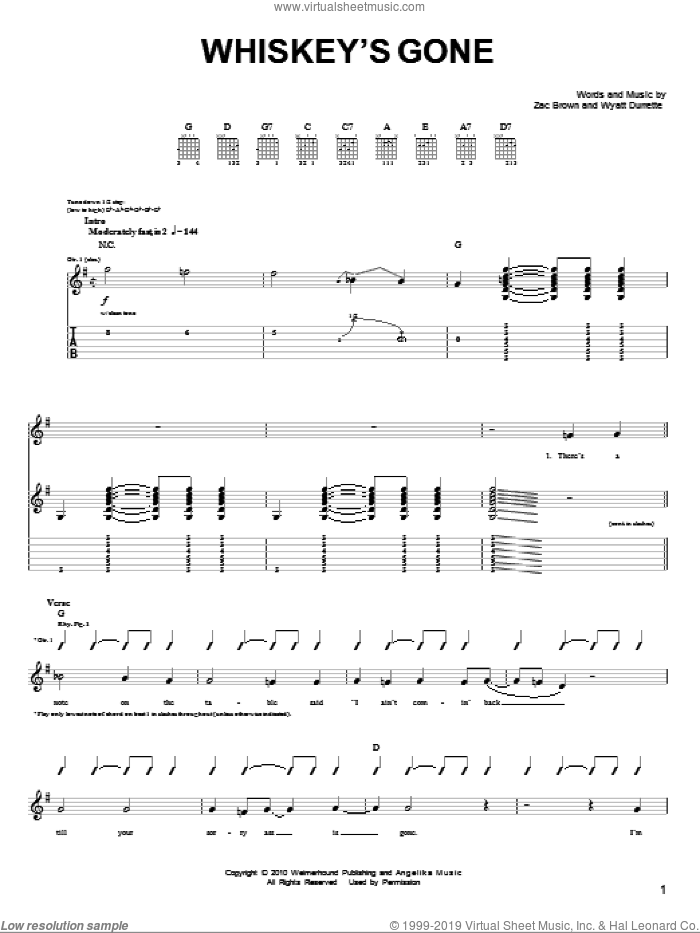 Whiskey's Gone sheet music for guitar solo (chords) by Zac Brown