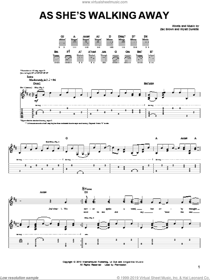 As She's Walking Away sheet music for guitar solo (chords) by Zac Brown and Wyatt Durrette. Score Image Preview.