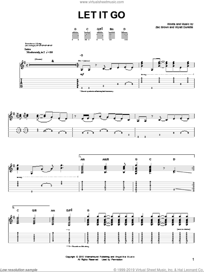 Let It Go sheet music for guitar solo (chords) by Zac Brown, Zac Brown Band and Wyatt Durrette. Score Image Preview.