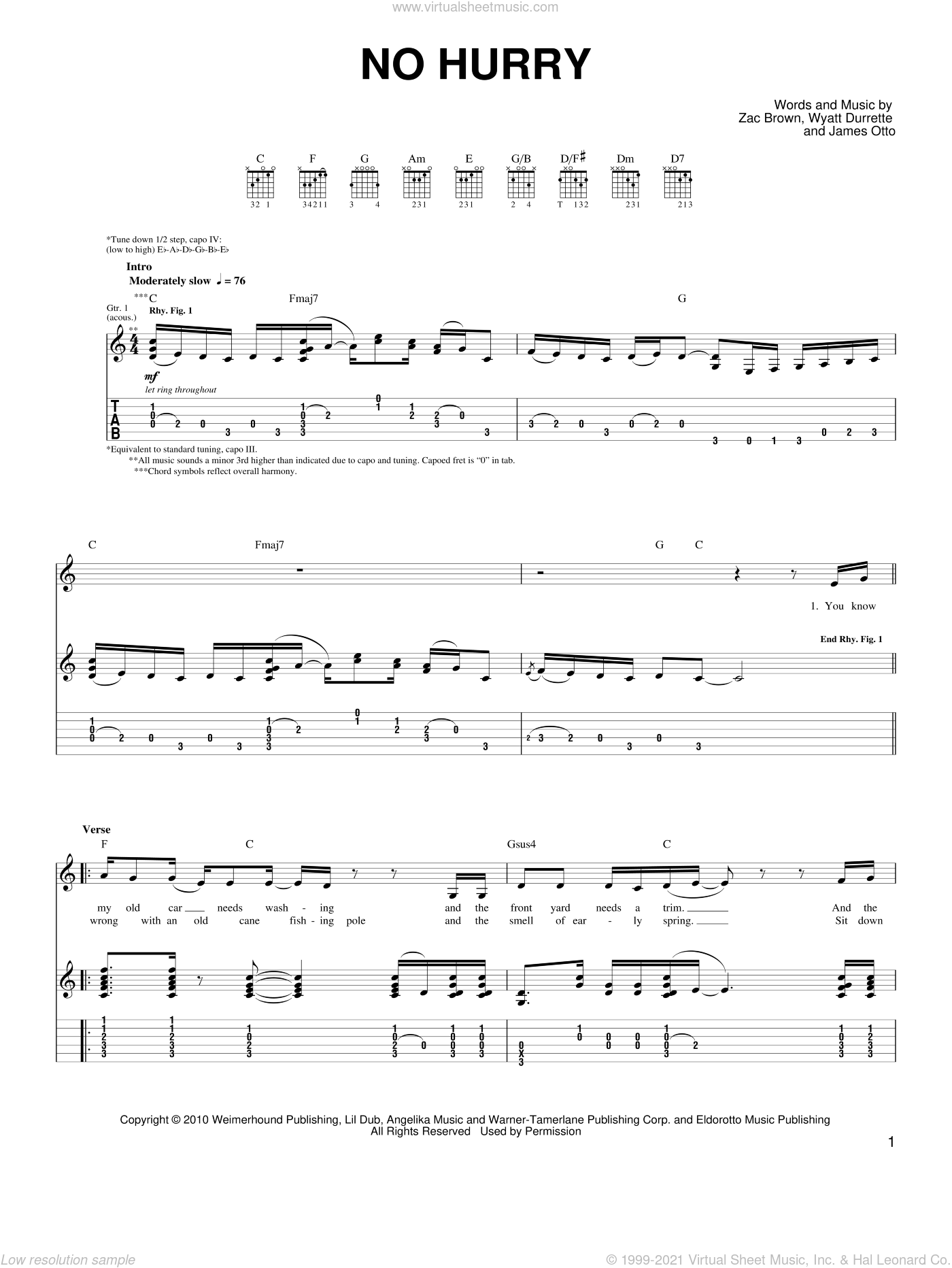 No Hurry sheet music for guitar solo (chords) by Zac Brown Band, James Otto, Wyatt Durrette and Zac Brown, easy guitar (chords)