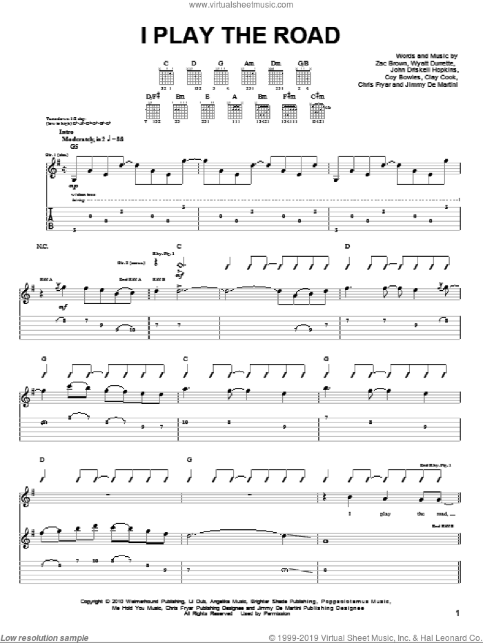 I Play The Road sheet music for guitar solo (chords) by Zac Brown, Zac Brown Band, Clay Cook, John Driskell Hopkins and Wyatt Durrette