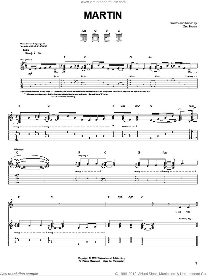Martin sheet music for guitar solo (chords) by Zac Brown and Zac Brown Band. Score Image Preview.