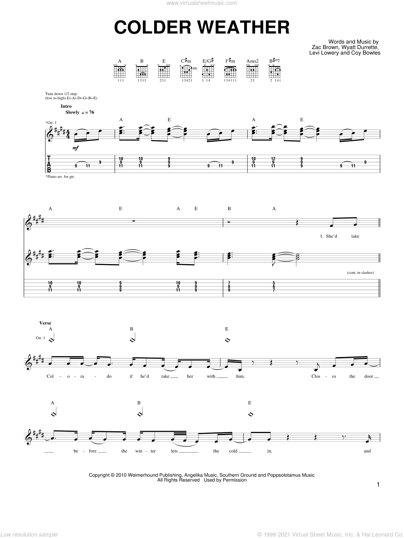 Colder Weather sheet music for guitar solo (chords) by Zac Brown, Zac Brown Band and Wyatt Durrette. Score Image Preview.