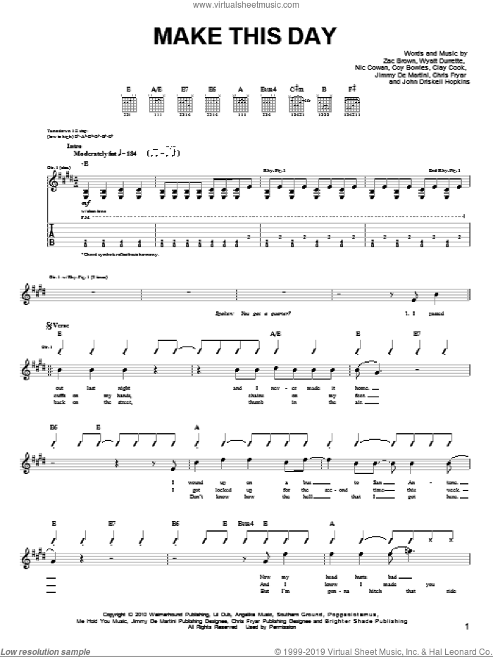 Make This Day sheet music for guitar solo (chords) by Zac Brown Band. Score Image Preview.