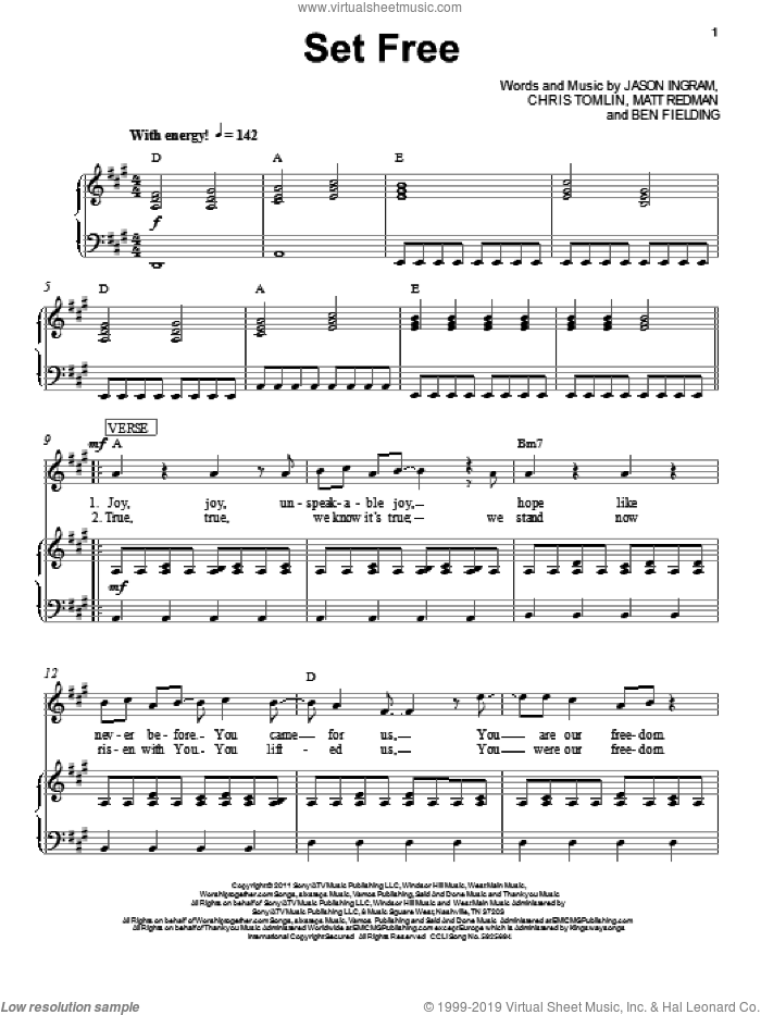 Set Free sheet music for voice, piano or guitar by Jason Ingram, Ben Fielding, Chris Tomlin and Matt Redman. Score Image Preview.