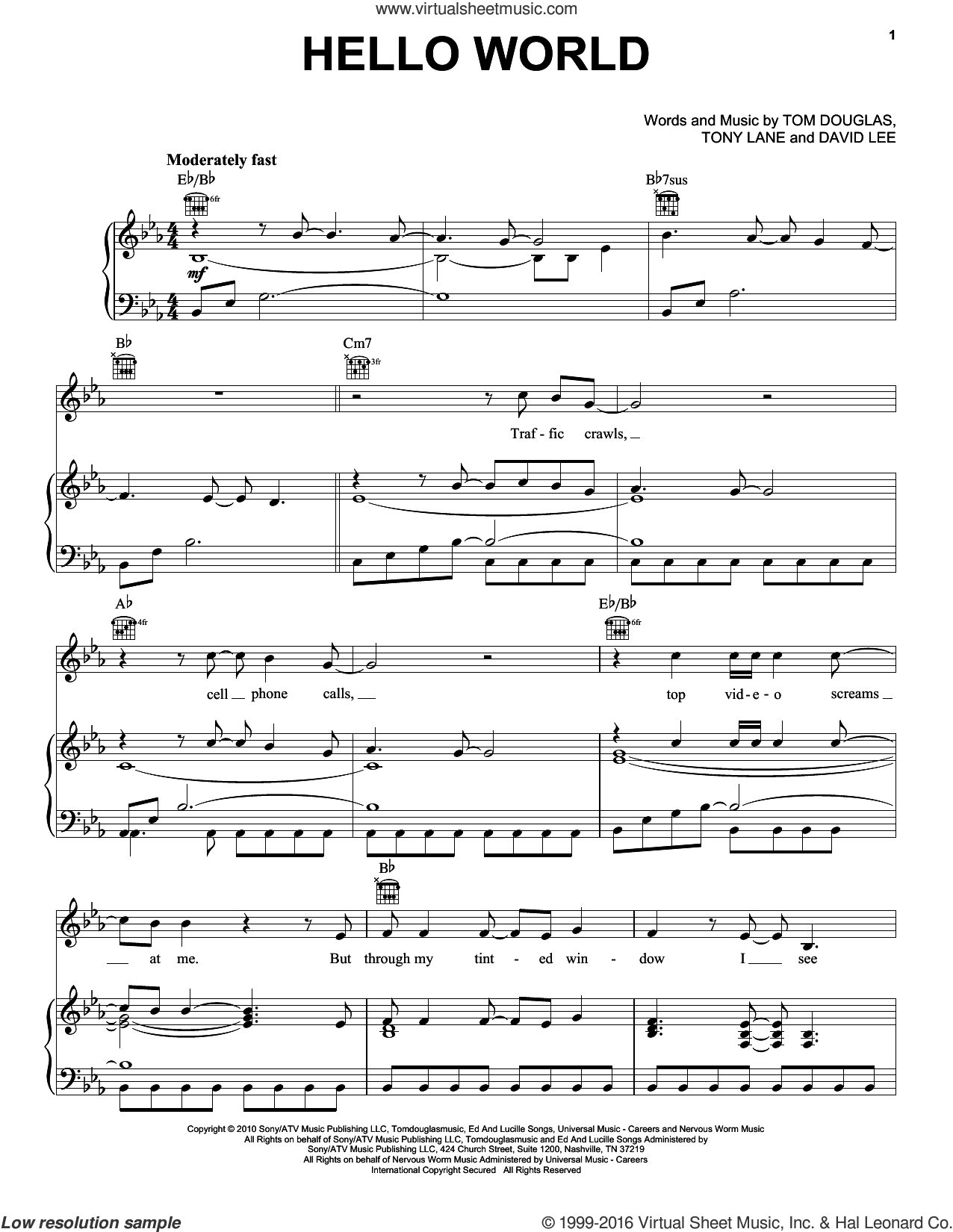 Hello World sheet music for voice, piano or guitar by Lady A, Lady Antebellum, David Lee, Tom Douglas and Tony Lane, intermediate skill level