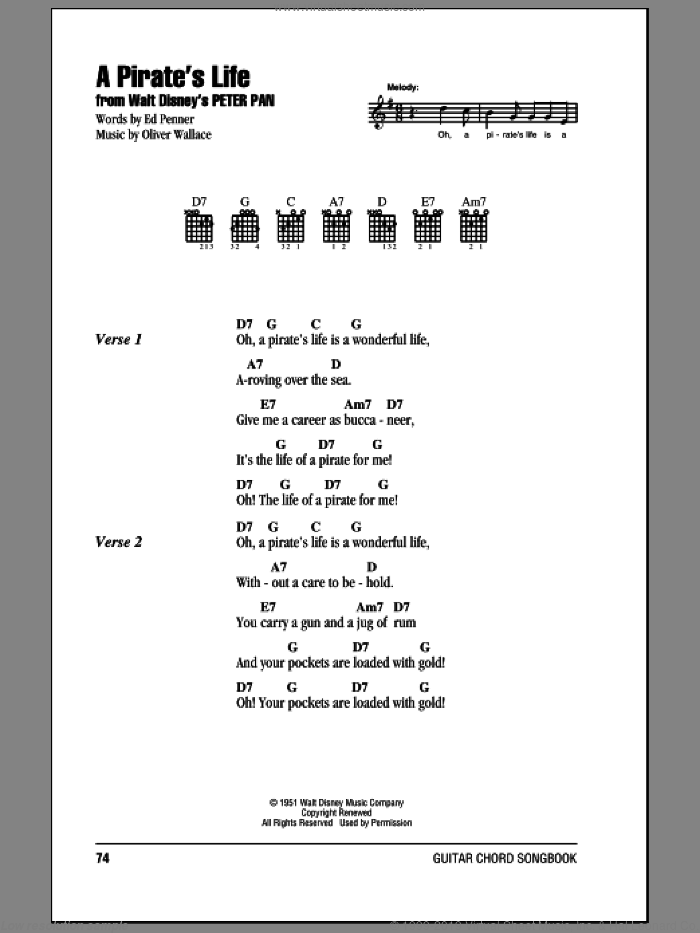 A Pirate's Life sheet music for guitar (chords, lyrics, melody) by Ed Penner