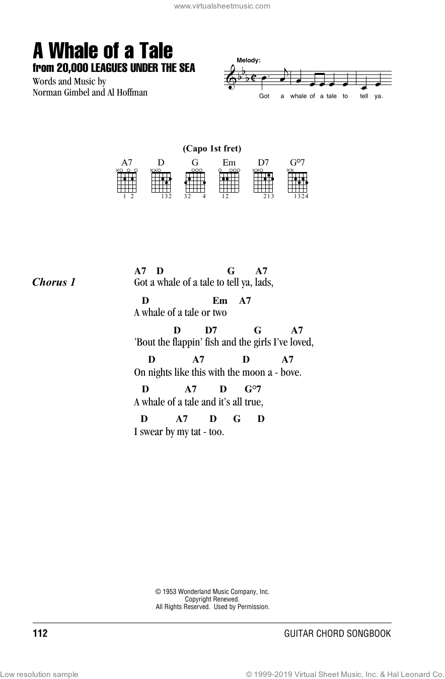 A Whale Of A Tale sheet music for guitar (chords) by Al Hoffman and Norman Gimbel. Score Image Preview.