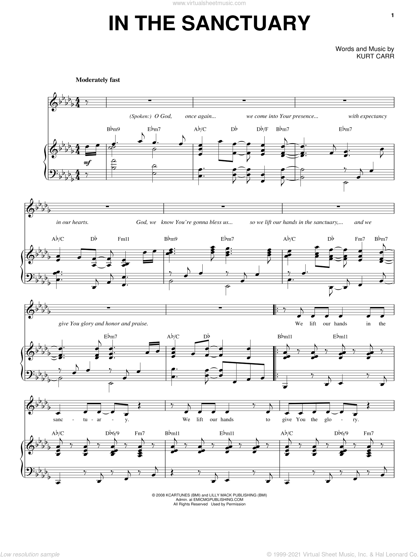 In The Sanctuary sheet music for voice and piano by Kurt Carr, intermediate voice. Score Image Preview.
