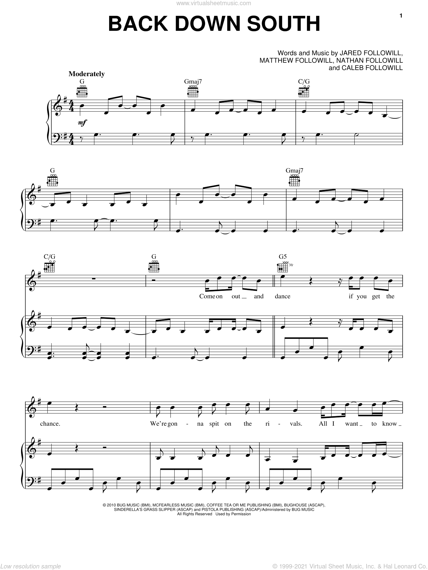 Back Down South sheet music for voice, piano or guitar by Kings Of Leon, Caleb Followill, Jared Followill, Matthew Followill and Nathan Followill, intermediate skill level