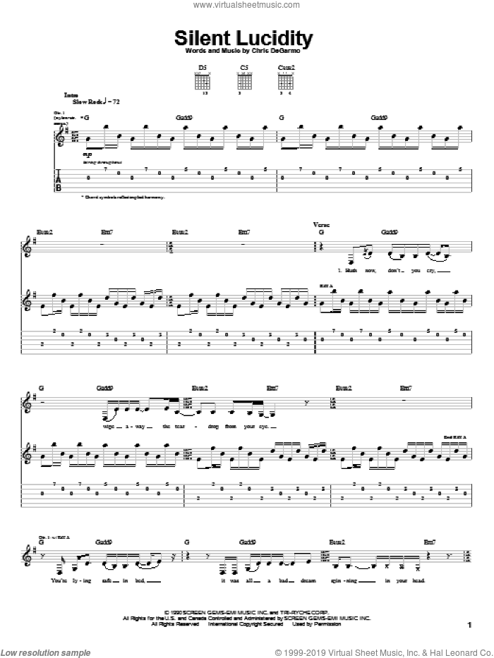Silent Lucidity sheet music for guitar (tablature) by Chris DeGarmo. Score Image Preview.