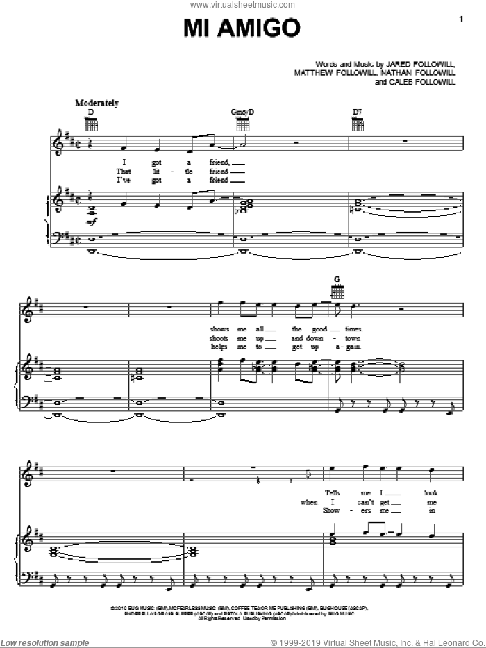 Mi Amigo sheet music for voice, piano or guitar by Nathan Followill, Kings Of Leon, Caleb Followill and Matthew Followill. Score Image Preview.